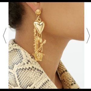 Versace Medusa safety-pin metal earrings
